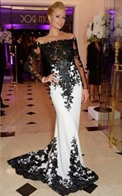 Off Shoulder Long-Sleeve White And Black Lace Embellished Prom Dress