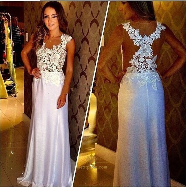 Elegant White Sleeveless Floor Length Mermaid Prom Dress With Lace Top