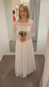 Off The Shoulder Long Sleeve A-Line Chiffon Wedding Dress With Lace