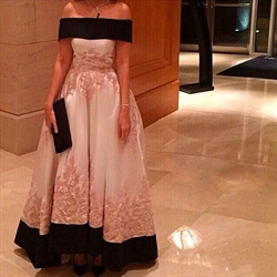 Floor Length Off-The-Shoulder Elegant A-Line Formal Gown With Applique