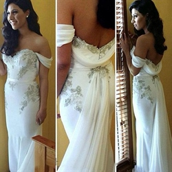 Elegant White Off The Shoulder Applique Floor Length Mermaid Prom Gown