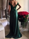 Hunter Green Off The Shoulder Lace Bodice Mermaid Prom Dress With Slit