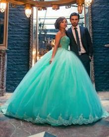 Elegant Strapless Beaded Bodice Floor Length A-Line Tulle Ball Gown
