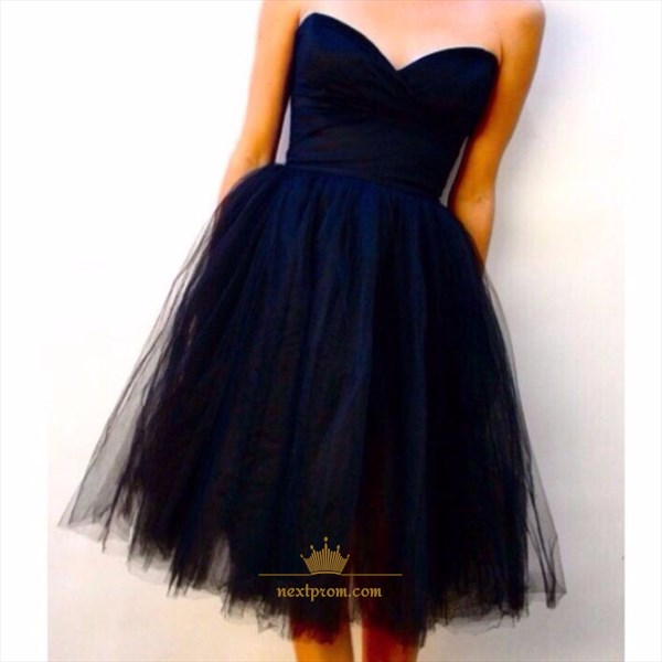 Simple Strapless Sweetheart Knee Length A-Line Tulle Homecoming Dress