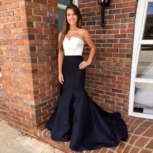 Elegant Simple Strapless Floor-Length Mermaid Evening Dress With Bow