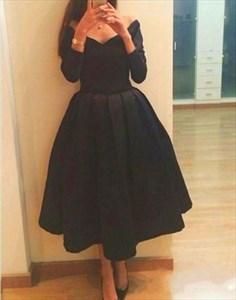 Black Tea Length Long Sleeve Off The Shoulder V-Neck Cocktail Dress