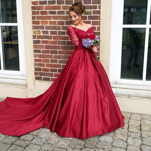 Off The Shoulder V-Neck Long Sleeve Lace Bodice Ball Gown With Train
