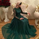Emerald Green Floor Length Long Sleeve A-Line Lace Bodice Prom Dress