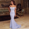 Elegant Lilac Off The Shoulder Floor Length Mermaid Lace Prom Dress