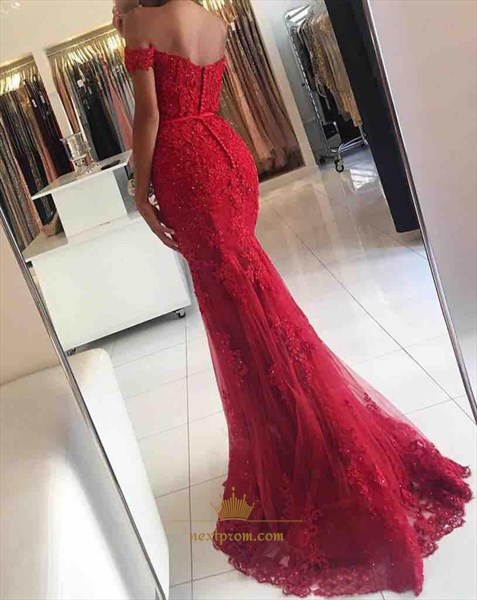 Red Elegant Floor Length Off-The-Shoulder Mermaid Lace Evening Gown