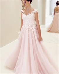 Light Pink Lace Applique Embellished A-Line Floor-Length Evening Dress