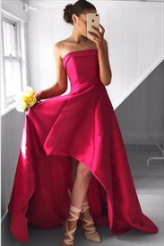 Floor Length Elegant Fuchsia Strapless Embellished High Low Prom Dress