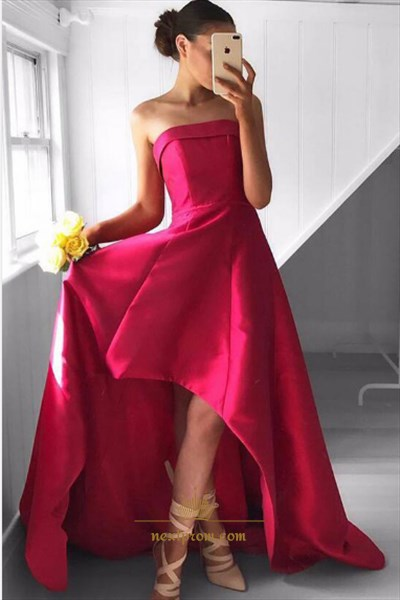 Floor Length Elegant Fuchsia Strapless Embellished High