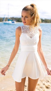 Lovely Knee Length White A-Line Sleeveless Chiffon Dress With Lace Top