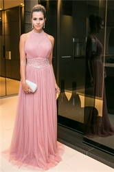 Pink Beaded Embellished Halter Floor Length A-Line Tulle Prom Dress