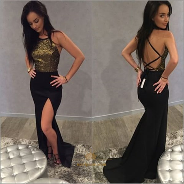 Sleeveless Halter Sequin Bodice Mermaid Backless Prom Dress With Slit