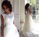 Elegant Floor Length Sleeveless A-Line Wedding Dress With Lace Bodice