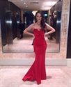 Elegant Strapless Sweetheart Mermaid Evening Gown With Embellished Top