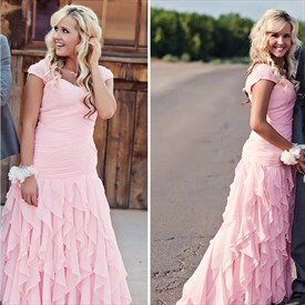 Lovely Pink Cap Sleeve Ruched Bodice Ruffle Chiffon Bridesmaid Dress
