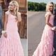 Lovely Pink Cap Sleeve Ruched Bodice Ruffle Chiffon Bridesmaid Dress