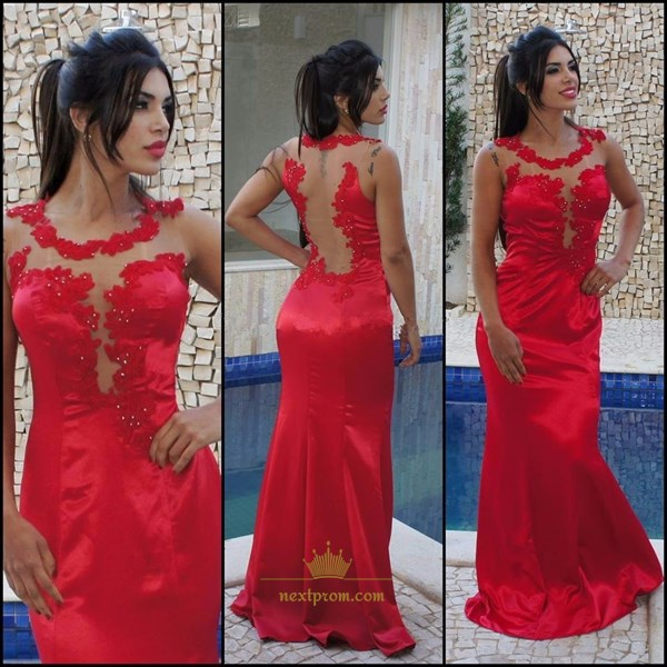 Sleeveless Red Sheer Neckline Mermaid Prom Dress With Lace Embellished
