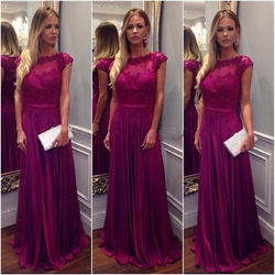 A-Line Floor Length Elegant Cap Sleeve Lace Embellished Evening Dress