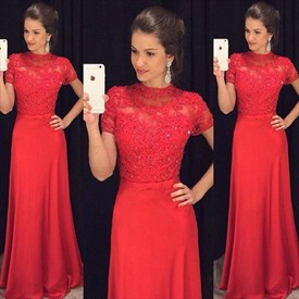 Elegant Red Short Sleeve Floor Length Evening Dress With Lace Bodice