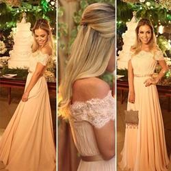 Off The Shoulder Lace Top A-Line Chiffon Floor Length Evening Dress