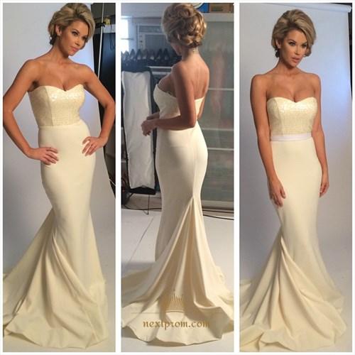 Simple Strapless Sweetheart Beaded Bodice Floor Length Mermaid Dress