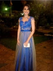 Sheer Short Sleeve Embellished Lace Bodice Tulle Overlay Prom Dress