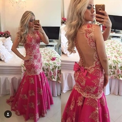 Floor Length Sleeveless Embellished Lace Mermaid Prom Dress With Bow