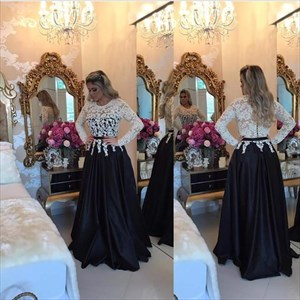 Black And White Long Sleeve Lace Bodice Floor Length A-Line Prom Dress