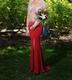 Sheer Beaded Bodice V-Neck Sleeveless Mermaid Long Bridesmaid Dress