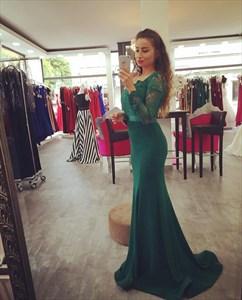 Elegant Emerald Green Long Sleeve Lace Bodice Satin Mermaid Prom Dress