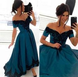 Off The Shoulder Short Sleeve Embellished A Line High Low Prom Dress