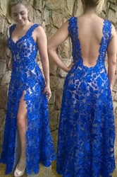 Royal Blue Sleeveless V-Neck A-Line Floor Length Backless Lace Dress