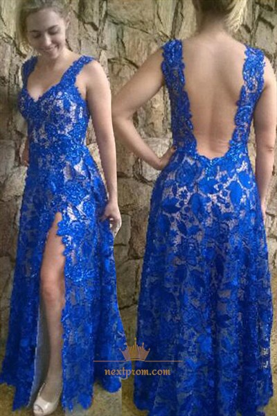 Royal Blue Sleeveless V-Neck A-Line Floor Length Backless Lace Dress