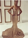 Champagne Spaghetti Strap Sequin Floor Length Sheath Mermaid Prom Gown