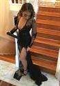 Sheer Illusion Long Sleeve Deep V Neck Applique Prom Dress With Slit