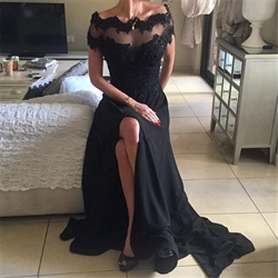 Off The Shoulder Sheer Neckline Black Chiffon Evening Dress With Split