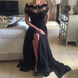 Off The Shoulder Sheer Neckline Black Chiffon Evening Dress With Split