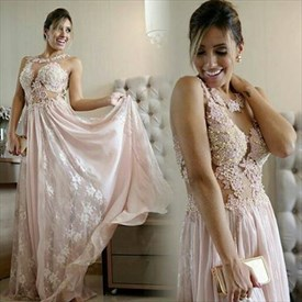 Pink Sleeveless A-Line Lace Beaded Applique Chiffon Long Evening Dress