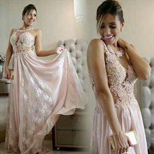Pink Sleeveless A-Line Lace Beaded Applique Chiffon Long Evening Dress
