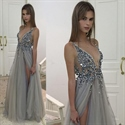 Sleeveless V-Neck Beaded Embellished Tulle Long Prom Dress With Slit