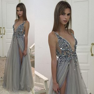 Sleeveless V-Neck Beaded Embellished Tulle Long Prom Dress With Slit