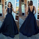 Navy Blue Sleeveless Elegant V-Back A-Line Floor Length Evening Dress