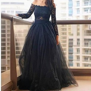 Off The Shoulder Long Sleeve Lace Bodice A-Line Tulle Evening Dress