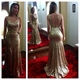 Champagne Sleeveless Sequin Mermaid Evening Dress With Sheer Neckline