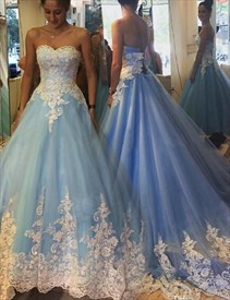 Light Blue Strapless Lace Embellished A-Line Floor Length Ball Gown