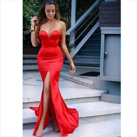 Simple Red Strapless Sweetheart Mermaid Prom Dress With Slit In Front